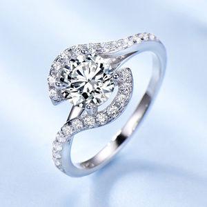 Silver CZ Engagement Ring Chervon Ring